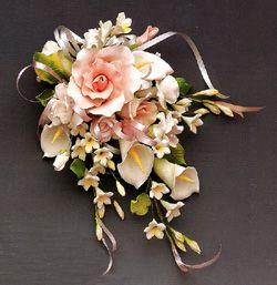 Gum paste  brides bouquet cake ~ All edible