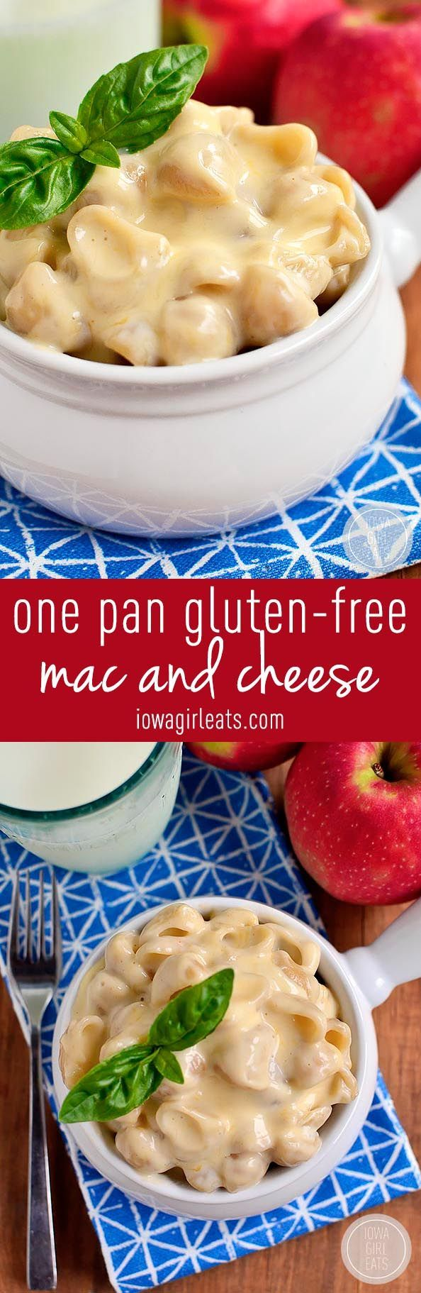 Picture the creamiest, cheesiest mac and cheese - made gluten-free and without butter or cream! One Pot Gluten-Free Mac and Cheese is it! #glutenfree | iowagirleats.com
