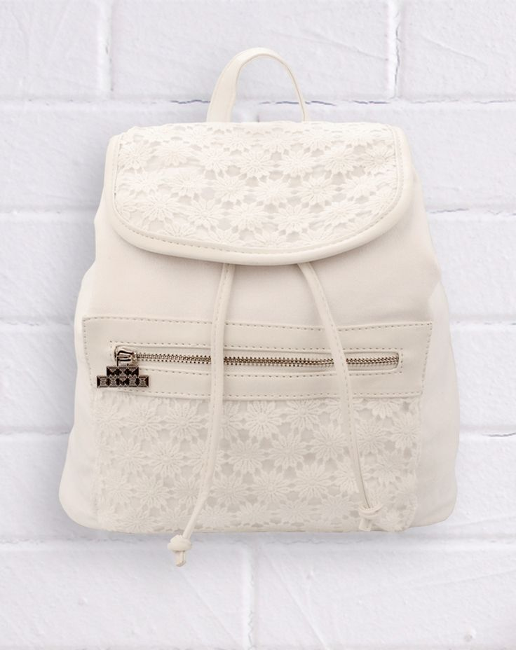 Denim Lace Backpack - White