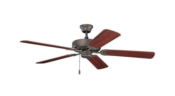 "Kichler 404 52"" Indoor Ceiling Fan with Blades Downrod and Pull Chain Satin Natural Bronze Fans Ceiling Fans Indoor Ceiling Fans"