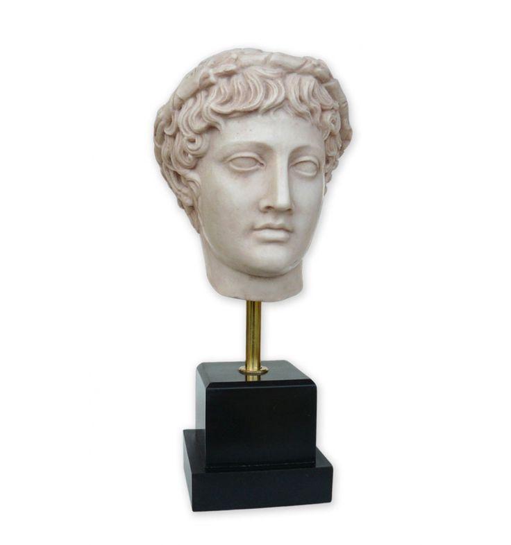 Figura en resina de Baco o Dionysos. Dios del teatro, el entusiasmo y las bacanales. Reproducción arqueológica de busto romano. Ideal para hacer un regalo exclusivo.