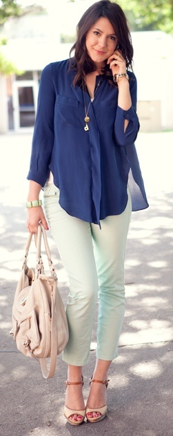 Outfit Posts: outfit post: navy blouse, mint cropped jeas, leopard & zebra heels