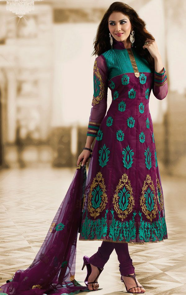 Purple Color Georgette Churidar Kameez Set (APSK1987011) - OnlineDesignerStore.com
