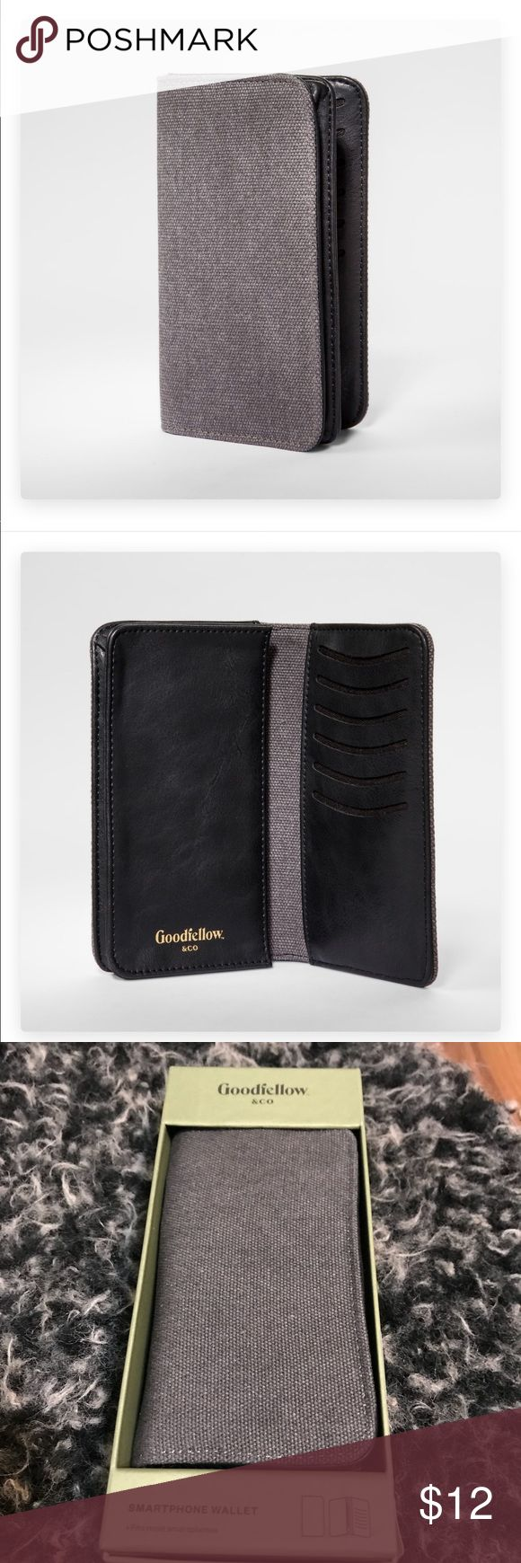 🔴 5/$25 NWT Goodfellow Men's Cellphone Wallet Keep all your important pocket contents in one place with the Phone/Card Case Wallet from Goodfellow & Co™. This spacious carrying case is perfect for stashing your phone, credit cards, ID and anything else you need to hold. The slim profile is small enough to fit in a pocket or bag pouch, and the protective cotton shell helps hold things safely and securely.  6 in x 3.6 in case size fits most smartphones Features pockets for up to 6 cards…