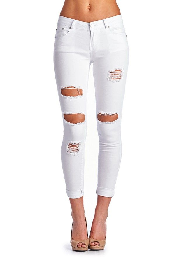 Best 25  White distressed jeans ideas on Pinterest | White jeans ...