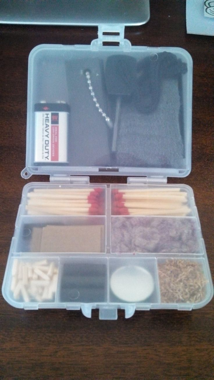 Now this is something I need. I have enough sawdust though, I could probably cut out the tinder....just keep the matches.    What would be in your Bug Out Bag?