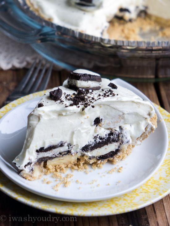 No Bake Banana Oreo Cream Pie