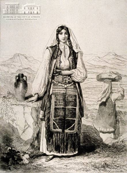 TH. VALERIO (1819-1879) (painter) & TH. VALERIO (1819-1879) (engraver)  Greek woman from the Croatian suburb of Zavaglie  1854,