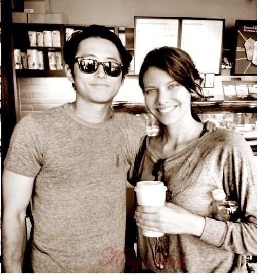 Steven Yeun and Lauren Cohan- but where did they find an open coffee shop in the zombie apocalypse?