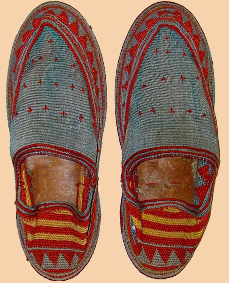 Antique Giveh Persian Silk Embroidered Shoes  Qajar Dynasty  1795 -1925 A.D