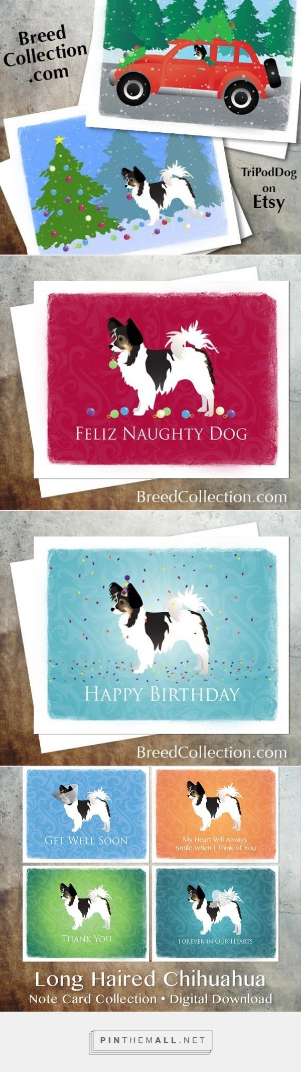Tri-color Long-haired Chihuahua or Papillon Dog Christmas Cards from the Breed Collection - Digital Download Printable