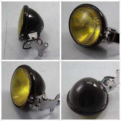 [Visit to Buy] Black Aluminum Headlight Lamp For Harley Honda Yamaha Kawasaki Suzuki KTM Cafe Racer Bobber Custom Chopper Motorcycle #Advertisement