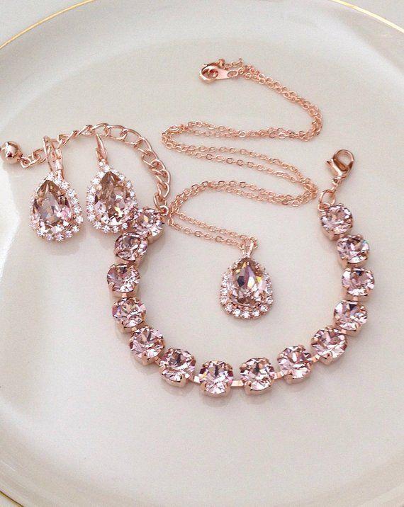 This Bracelet Swarovski Morganite Rose Gold Crystal Tennis Bracelet Bridal Jewelry Bridesmaid Gift Light Bridal Jewelry Sets Jewelry Bridesmaid Jewelry