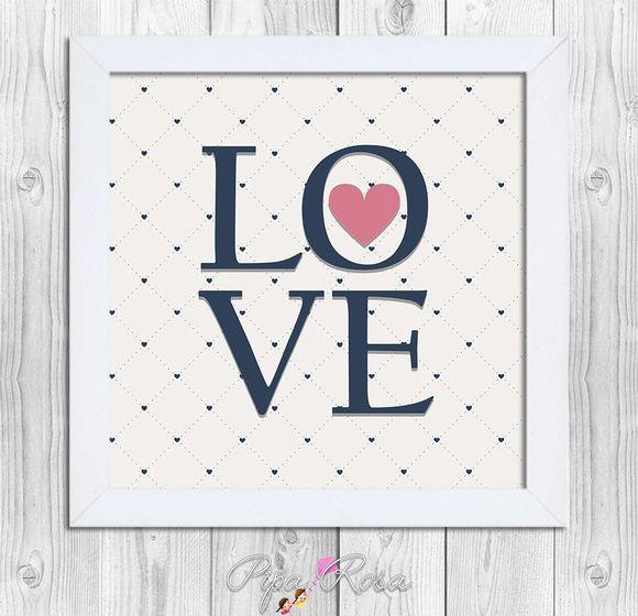 Quadro LOVE - com Moldura - 24x24cm