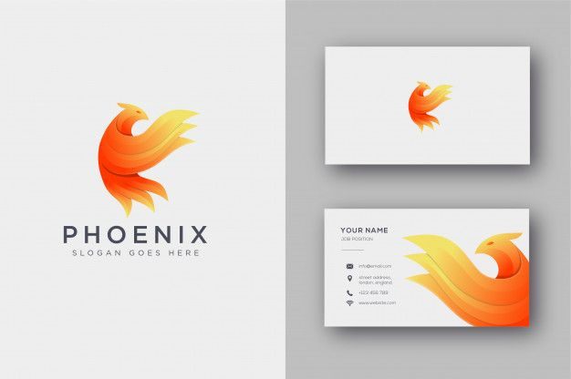 Abstract Phoenix Logo And Business Card Business Card Template Design Vector Business Card Free Business Card Templates