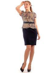 Платье Lamiavita  Платье комбинированное имитация костюма. Блузка из гипюр-атласа юбка из костюмной ткани. Баска отлично скрывает небольшой животик. Выверенные пропорции платья придают фигуре гармоничные пропорции. Платье нарядное отлично подойдет для мам невест и женихов для различных торжественных и праздничных мероприятий.. Платье Lamiavita промокоды купоны акции.