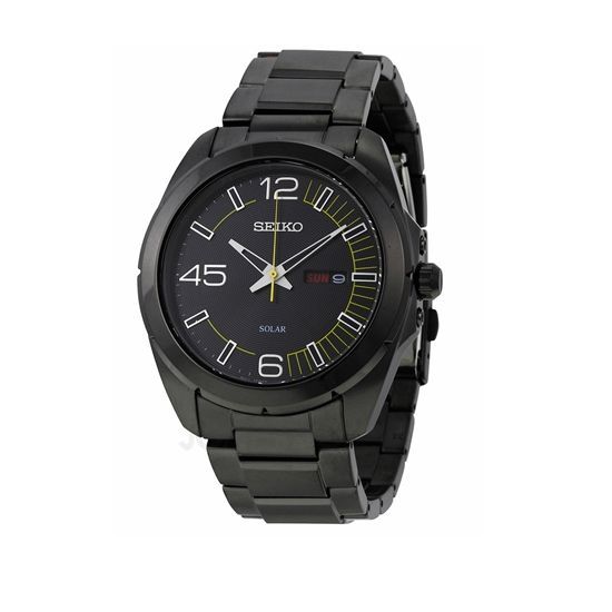 This Seiko Solar watch features a trendy monochromatic black face and band.  It is truly a gift that will be appreciated.
