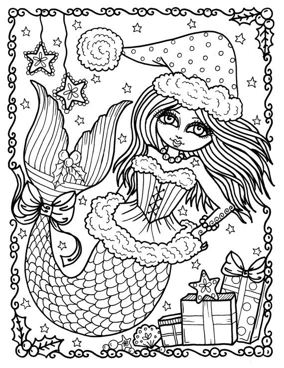 287 best Mermaid Coloring Pages for Adults images on Pinterest ...