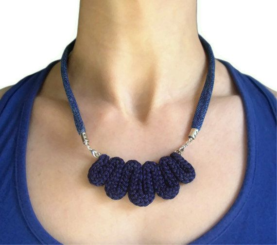Upcycled vintage denim indigo necklace
