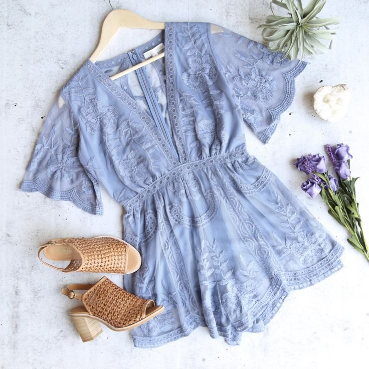 as you wish embroidered lace romper (women) - dusty blue