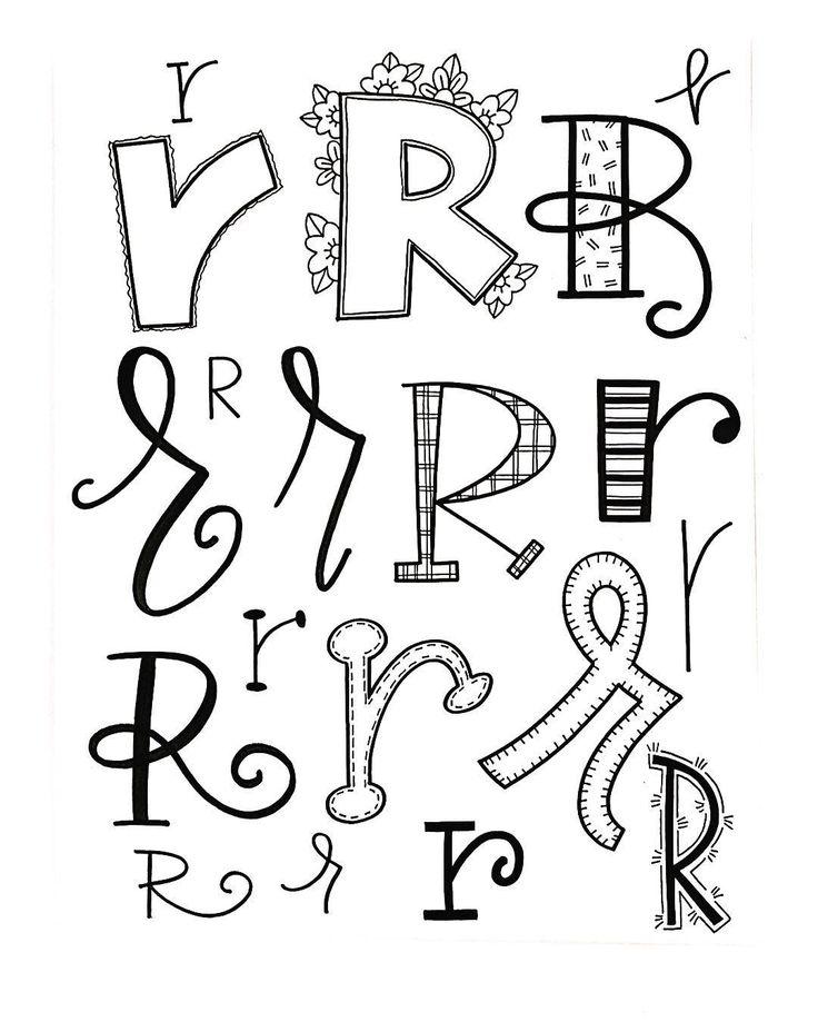 Verschiedene Möglichkeiten, den Buchstaben R zu lettern