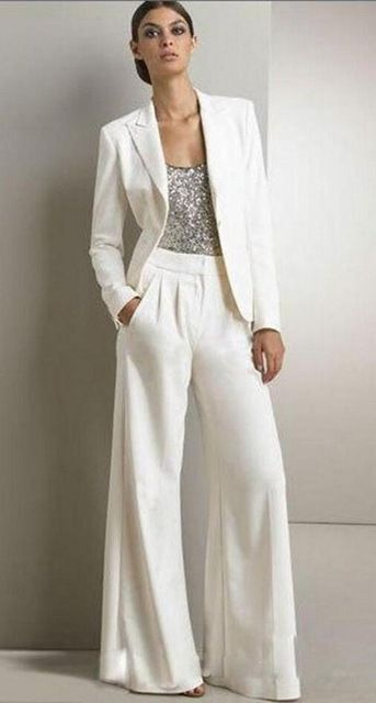 2017 Bling Sequins Ivory White Pants Suits Mother Of The Bride Dresses Formal Chiffon Tuxedos Women Party Wear New Fashion