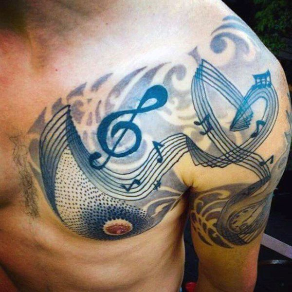 Cool Blue Musical Tattoo On Chest For Men