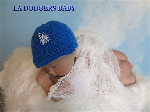 Los Angeles Dodgers Baby Fitted Cap Hat in by babyknitsnfrills, $15.00