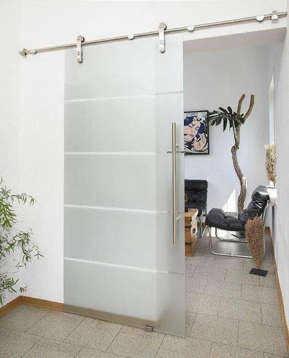 porta de vidro de correr com jateado