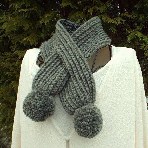 Stone Gray Neck Warmer Womens Crochet Scarf With Pom Poms