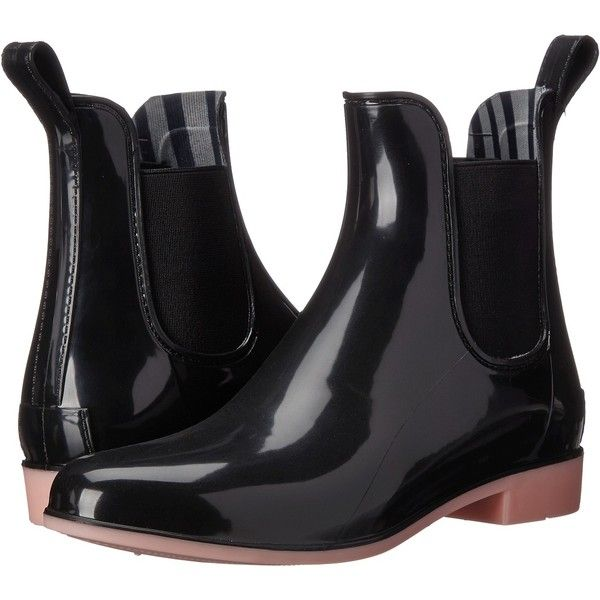 NoSoX Myst (Black/Blush) Women's Rain Boots ($35) ❤ liked on Polyvore featuring shoes, boots, ankle boots, black, rubber boots, short black boots, platform boots, bootie boots and black bootie boots