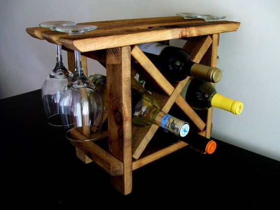 Reclaimed Wood Wine Rack Table Top Counter Top Bar By Thevineyards