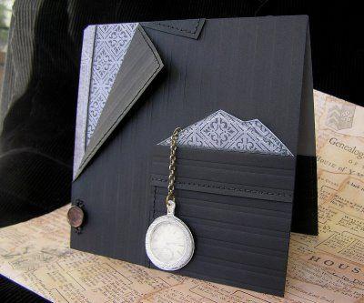 Cuttlebug Cards For Men | Mel Stampz: Shaped cards, & Funky Folds--LINK, templates, tutorials...