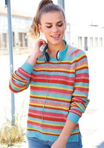 Pruhovaný barevný pulovr #ModinoCZ #modino_cz #modino_style #style  #fashion #spring #summer #sweater