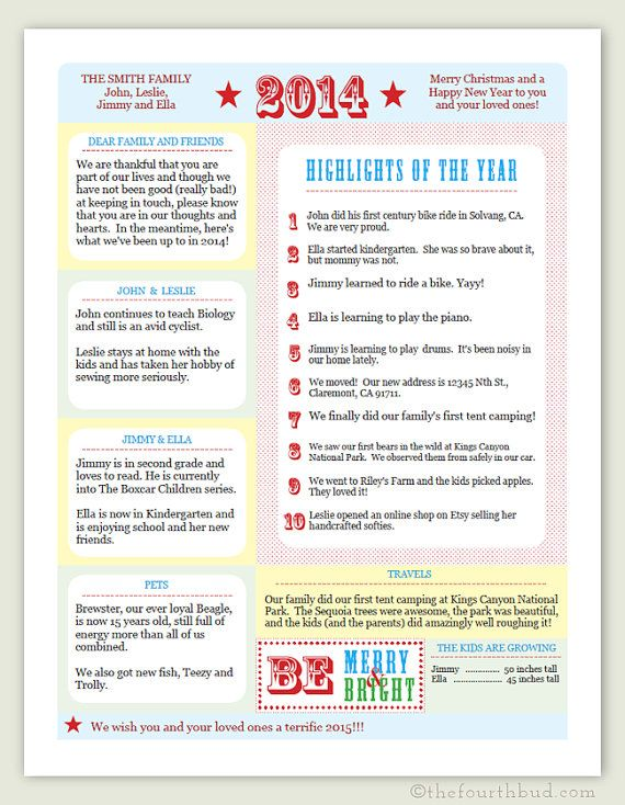 2014 year in review christmas letter template in by thefourthbud