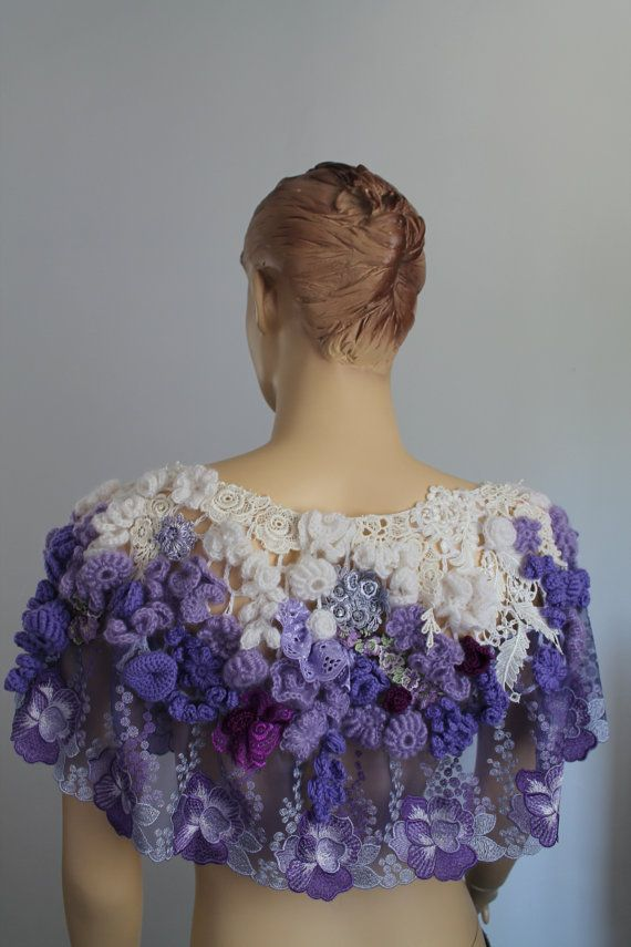 Bohemio Freeform Crochet Poncho capa chal boda gitana de arte