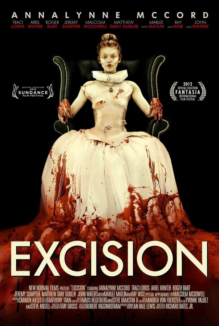 Excision.  Movie Poster.  Read all about it here >  http://lilywight.com/2013/04/20/excision-cutting-straight-to-the-heart-of-the-matter-movies-reviews/