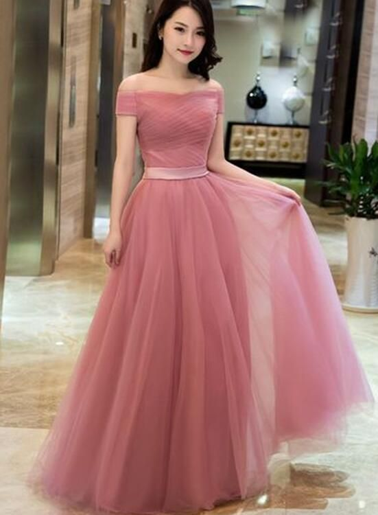 9a64b48fbe Lovely Pink Off Shoulder Tulle A-line Floor Length Formal Dress, Dark Pink  Junior