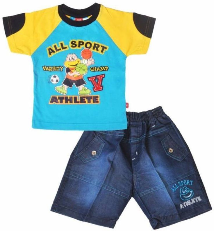 Fabric: Cotton Color: Blue Primary Product Type: T-shirt Secondary Product Type: Pant Character: No Character