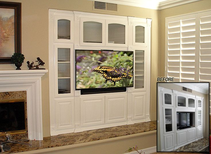 Modify white built-in entertainment center for large flat panel TV and Sonos sound system