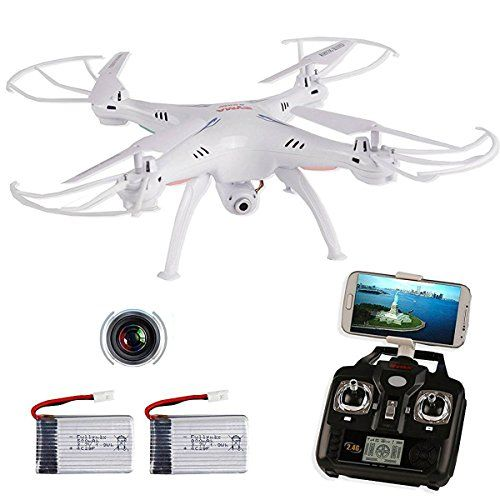 SYMA X5SWG RC Drone with Camera and Transmitter Headless Wifi FPV Quadcopter Radio Controlled  2 Batteries White ** Visit the image link more details.
