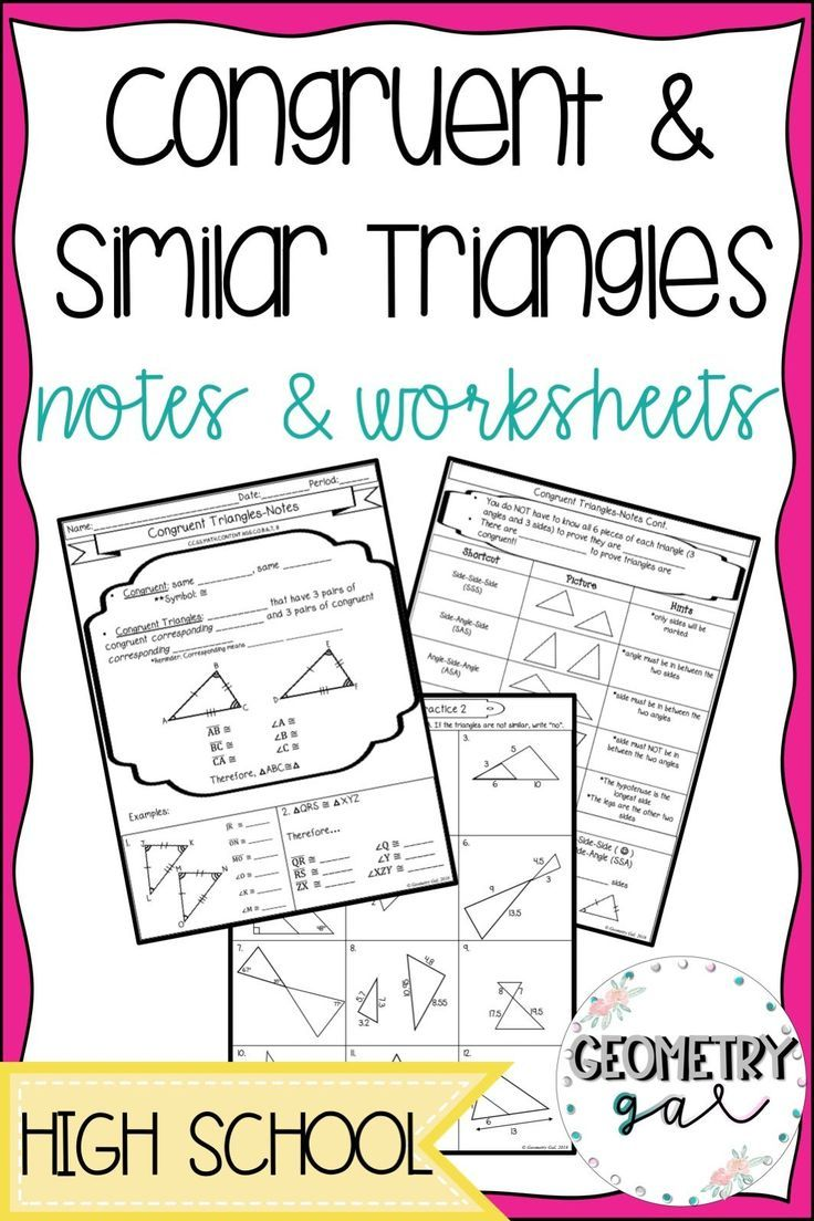 Congruent and Similar Triangle Notes and Worksheets! Great