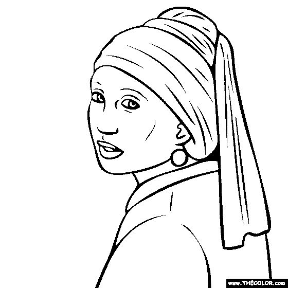100 free coloring page of johannes vermeer painting the