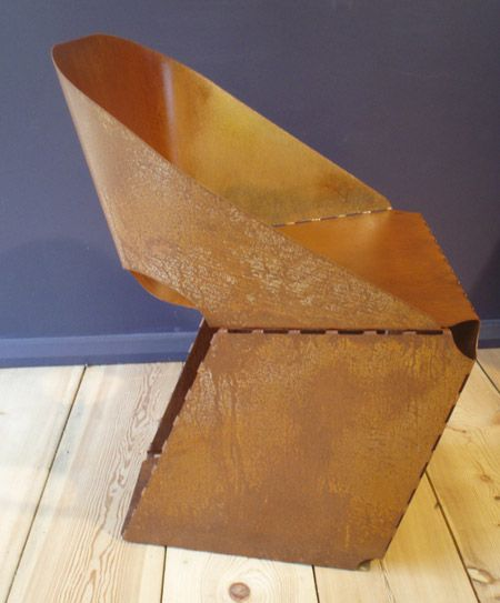 Fumi gallery in London presents Rusty Sheet Steel Chair, a folded steel chair by designer Max Lamb. Rusty, made of rusted and lacquered sheet steel, is produced in an edition of 21. The chair is a version of Lamb's Sheet Steel Chair, which is first presented at his Royal College of Art graduation show two
