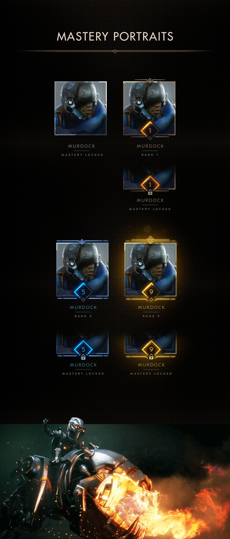 With the new Paragon patch V42, The New Dawn, BEHOLDER was tasked with designing and creating artwork for the updated Mastery system. Included below are systems we helped design and create while collaborating with the talented Paragon team at Epic Games.