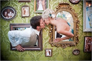 Different take on a photo booth wall.  So cute!!