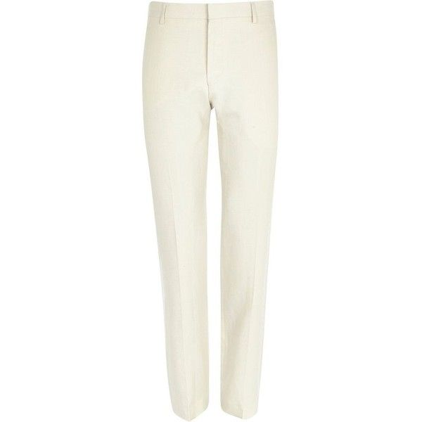 River Island White slim suit trousers ($20) ❤ liked on Polyvore featuring men's fashion, men's clothing, men's pants, men's dress pants, men, sale, mens white dress pants, mens slim dress pants, mens slim fit pants and mens zipper pants