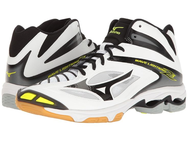 Mizuno - Wave Lightning Z3 Mid (White/Black) Men's Volleyball Shoes - Shoes Features ✅ Set up for a slamming spike with the Mizuno Wave Lightning Z3 Mid volleyball shoe! ; Synthetic upper for a smooth finish. ; Centralized lace-up closure for