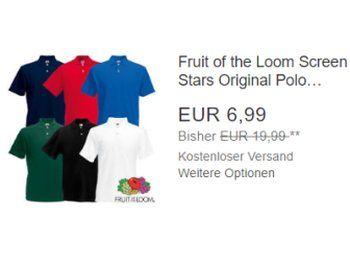 """Fruit of the Loom: Poloshirts für 6,99 Euro frei Haus via Ebay https://www.discountfan.de/artikel/klamotten_&_schuhe/fruit-of-the-loom-poloshirts-fuer-699-euro-frei-haus-via-ebay.php Bei Ebay sind jetzt Poloshirts von """"Fruit of the Loom"""" für 6,99 Euro frei Haus zu haben. Zur Auswahl stehen sechs Farben in den Größen S bis 3XL. Fruit of the Loom: Poloshirts für 6,99 Euro frei Haus via Ebay (Bild: Ebay.de) Die Poloshirts von """"Fruit of the Loom"""" f�"""