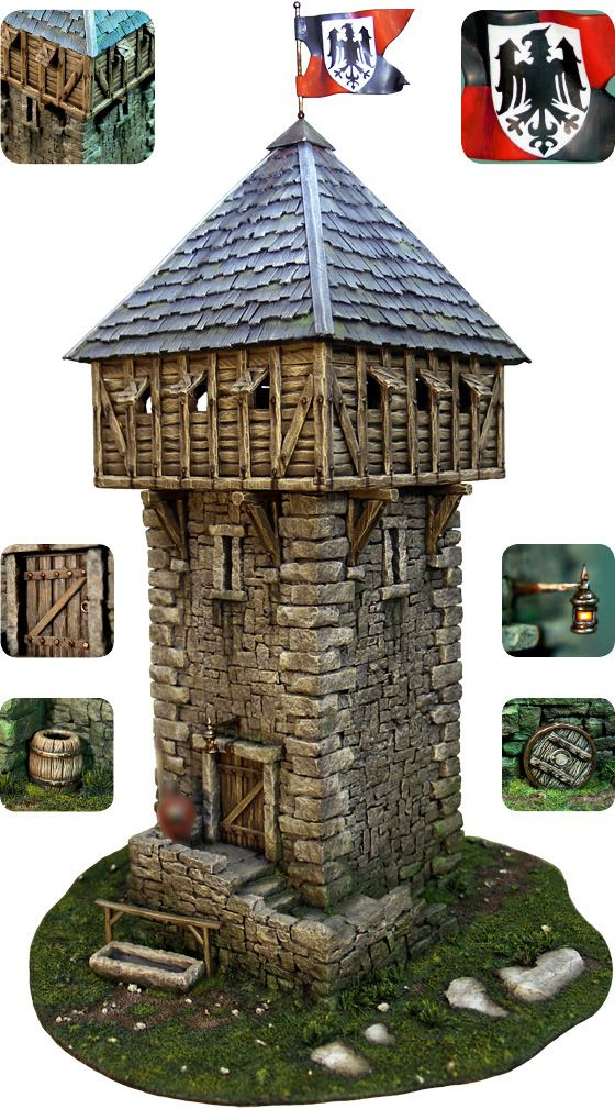 image Tower models from tabletop-world. I love these! Inspires me to make game models again- I get the same kind of feeling of wanting to make stuff when I see models- this could be a simple low poly model- with a great result- texture and shading!